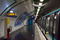 Underground Portion of Paris Metro or Metropolitain Royalty Free Stock Photo