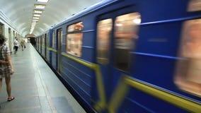 Underground railway station. Underground station in Kiev, Ukraine stock video