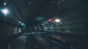 Underground railway tube tunnel Stock Photo