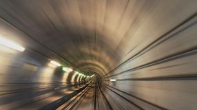 Underground railway tunnel. Point of view from front carriage Stock Image