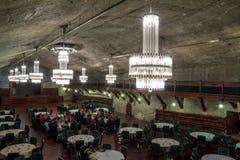 Underground restaurant in salt mine Royalty Free Stock Photos
