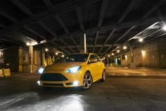 Underground Rider. Cool Yellow GT Car on the Underground Road Systems i Chicago, Illinois, USA. GT Cars Photo Collection Royalty Free Stock Photos