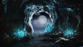 Underground river. And blue crystals Stock Photos