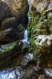 Underground river and waterfall in Romania Stock Photo