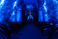 Underground salt cathedral Zipaquira main room Royalty Free Stock Photography