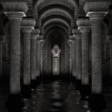 Underground sanctuary. 3D rendered fantasy religious underground sanctuary illustration Royalty Free Stock Photo