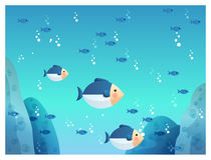 Underground sea fish Stock Photography