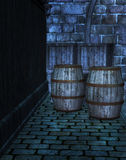 Underground Sewer with barrels Stock Images