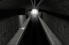 Underground Sewer. A 3D rendering of an underground sewage system with a light emanating in from the distance stock illustration
