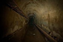 Underground sewer tunnel under Sevastopol, Crimea. Flooded sewerage drainage tunnel.  Stock Photos