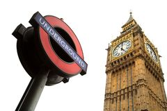 Underground sign and Big Ben in London royalty free stock images