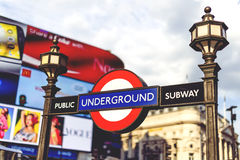 Underground sign in Central London in Piccadilly Circus with arc Royalty Free Stock Photo