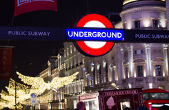 Underground sign and Christmas decoration in the Oxford Street, London Stock Photos