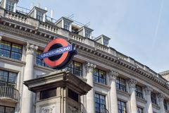 Underground Sign in The City, London, England stock photo