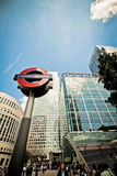 Underground sign and entrance, Canary Wharf Royalty Free Stock Photography