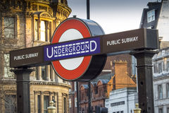 Underground sign, near Downing Street, Westminster, London Stock Images