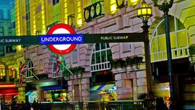 Underground sign in Piccadilly Circus, UK stock video footage