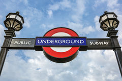 Underground sign in the sky Royalty Free Stock Image