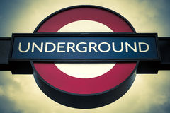 Underground sign, special photographic processing Stock Photography