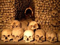 Underground Skulls. Skulls in an underground church in Czech Republic Royalty Free Stock Photos