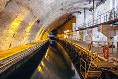 Underground Soviet Cold War Bunker. Underground submarine repairing factory in Balaklava, Crimea. Underground Soviet Cold War naval Bunker. Underground submarine stock photography