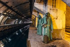 Underground Soviet Cold War Bunker. Underground submarine repairing factory in Balaklava, Crimea. Underground Soviet Cold War naval Bunker. Underground submarine royalty free stock images