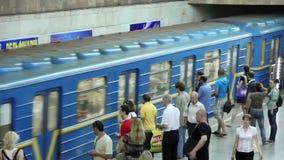 Underground station. People on underground station in Kiev, Ukraine stock video footage