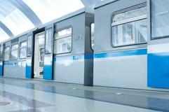 Underground station and train Stock Photos