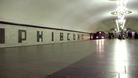 Underground station. UKRAINE, KIEV, APRIL 15, 2011: People on underground station in Kiev, Ukraine, April 15, 2011 stock footage