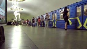 Underground station. UKRAINE, KIEV, MAY 20, 2010: People inside underground station in Kiev, Ukraine, May 20, 2010 stock video
