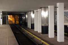 Underground station with wailway and no people Stock Image