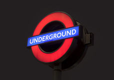 Underground subway sign near Big Ben, Westminster station in London city, United Kingdom. Stock Photo