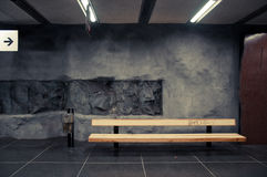 Underground subway stockholm. Undergroud subway station with bench and graffity Royalty Free Stock Photography