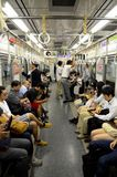 Underground subway train carriage with people in Tokyo Japan Royalty Free Stock Photos