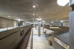 The underground, subway train station of the Bundestag house of. Berlin, Germany - october 2017: The underground, subway train station of the Bundestag house of royalty free stock images