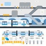 Underground subway train at station Stock Photography