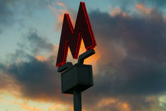 Underground Symbol - M on the background of clouds. 2016 stock image
