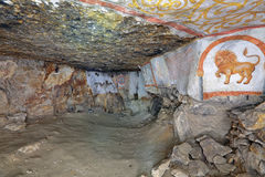 Underground temple. Sianowska quarries - abandoned dungeon in the Moscow region, Domodedovsky District, which was extraction limestone from the 17th to the 19th Stock Image