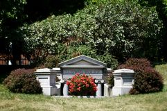 Underground Tomb. This is a Summer picture of the underground tomb of Ludwig Wolff in Graceland Cemetery located in Chicago, Illinois in Cook County. Ludwig royalty free stock photos