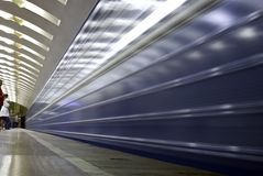Underground train arrival Royalty Free Stock Photo