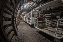 Underground train in coal mine Royalty Free Stock Images