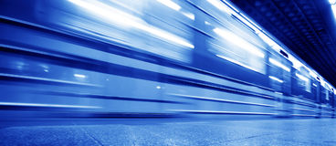 Underground train dynamic motion. Picture royalty free stock photography