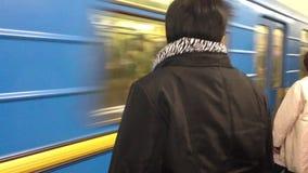 Underground train, Kiev. Passengers wait to the subway in Kiev stock video footage