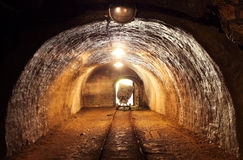 Underground train in mine. Royalty Free Stock Photo