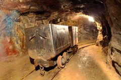 Underground train in mine. stock image