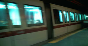 Underground train passing by stock footage