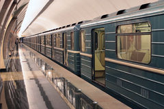 Underground train is starting from the station. Moscower underground. Train is starting from the Trubnaya station Stock Images