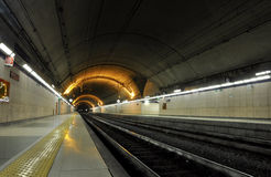 Underground train station Stock Images