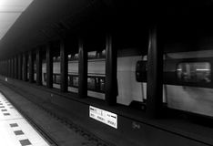 Underground train. A train underground station in black and white Royalty Free Stock Image
