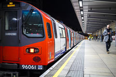 Underground Train at Station Stock Photography